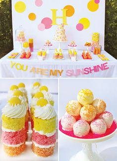 17 October:You Are My Sunshine Birthday Party {Modern & Bright}.Using this as the theme for TJ's Birthday Supper. Everything will be in these colours. Happy Birthday B, Sunshine Birthday Parties, Baby Birthday, First Birthday Parties, Birthday Party Themes, First Birthdays, Birthday Ideas, Colorful Birthday Party, Yellow Birthday