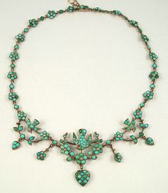 Persian turquoise necklace with birds and hearts, c. 1870-1880.