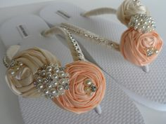Salmon & Ivory Bridal Flip Flops / Bridal Color by BridalRossy, $40.99