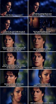 Damon reciting his letter to Bonnie