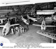 NACA Aircraft in hangar 1953: L-R: Three D-558-2s, D-558-1, B-47, wing of YF-84A | Flickr - Photo Sharing!