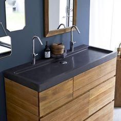 Meuble en chêne et vasques pierre de lave KArl duo – Vente meubles salle de bain bois - Tikamoon
