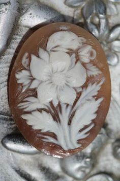 Antique Hand Carved Cameo of Floral Bouquet No Setting
