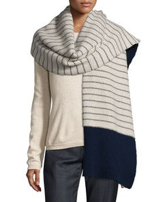 Striped Cashmere Sailor Scarf, Ink by ED by Ellen at Bergdorf Goodman.