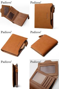 [Visit to Buy] Padieoe Genuine Leather Purse New Designer Men's Wallets Business Men Purse for Coins Fashion Short Wallets Brown #Advertisement