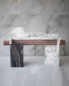 Nawa console by Raw Material. Marbles Oxide, Mist and Molten. Limited edition of 12 on Kolkhoze Marble Furniture, Sofa Furniture, Contemporary Furniture, Narrow Table, Interior Decorating, Interior Design, Furniture Market, Black Marble, Raw Material