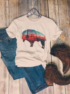 Buy Arizona Buffalo Tee Shirt This t-shirt is Made To Order, one by one printed so we can control the quality. We use newest DTG Technology to print on to Arizona Buffalo Tee Shirt Tee T Shirt, T Shirt And Shorts, Shirt Print, Spring Break, Summer, Country Style Outfits, Country Dresses, Country Chic, Buffalo Shirt