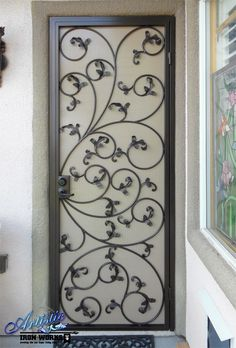 Scrolled Wrought Iron Security Screen Door with Leaves: