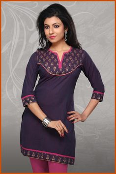 Purple and Magenta Shot Tone Cotton Readymade Kurti