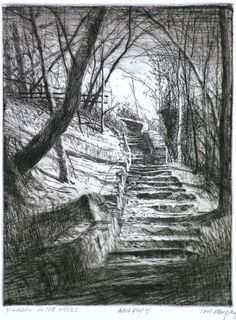 Stairway in the Woods (etching printed in deep sepia on Rives BFK paper) Bill Murphy Landscape Drawings, Landscape Art, Bill Murphy, Pencil Drawings, Art Drawings, Illustration Art, Illustrations, Etching Prints, Wood Engraving