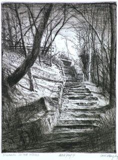 "Bill Murphy (American, 1952- ), ""Stairway in the Woods,"" ca. 2013."