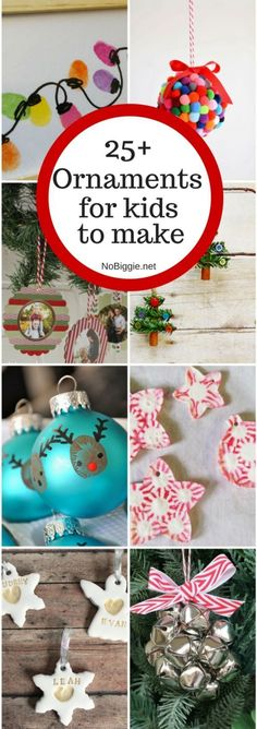 "25+ ornaments for kids to make for the holidays! And make sure you check out and follow this board and enter to win the ""Home For The Holidays"" contest here: http://clvr.li/2cIkdtF #downrightdelicious #CG #ad From @nobiggie"