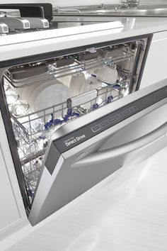 Handle any challenge your dishes can serve up. This stainless steel dishwasher has an adjustable 3rd rack so it fits anything from long flatware to small espresso cups.