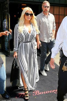 Jessica Simpson wearing Givenchy Easy Black Suede Tote, L'Agence Alani Striped Maxi Dress, Jessica Simpson Delina Caged Wedge Sandals and Jessica Simpson 10th Anniversary Oversized Cat Eye Sunglasses