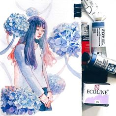 """16.4k Likes, 31 Comments - Ashiya (@ashiyaart) on Instagram: """"Hydrangea (especially when it's blue) is one of my favorite flowers ever but it's really hard to…"""""""