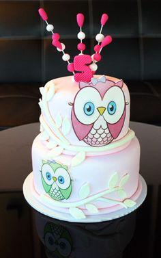 Pink Hoot Owl Cake