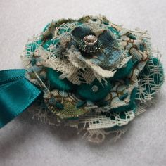 Vintage Fabric Layered Flower Brooch