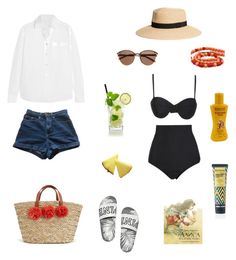 """Sun day"" by thumberline on Polyvore featuring мода, Beach Riot, AlexaChung, American Apparel, Witchery и Payot"