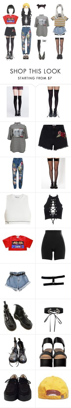 """M Countdown: comeback stage ∴ River City"" by outline-official ❤ liked on Polyvore featuring Leg Avenue, M.Y.O.B., New Look, Ashish, T By Alexander Wang, SPANX and Dr. Martens"
