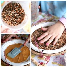 making a bird feeder with a paper plate, peanut butter and bird seed