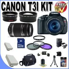 Review Cheap Canon EOS Rebel T3i 18 MP CMOS Digital SLR Camera and DIGIC 4 Imaging with EF-S 18-55mm f/3.5-5.6 IS Lens & Canon 55-250IS Lens + 58mm 2x Telephoto lens + 58mm Wide Angle Lens (4 Lens Kit!!!!!!) W/32GB SDHC Memory+ 2 Extra Batteries + Charger + 3 Piece Filter Kit + UV Filter + Case +Accessory Kit