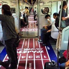 Love this guerilla idea on a Japanese train - it makes me wanna runnnn! 走りたくなる。(@hirocknight)