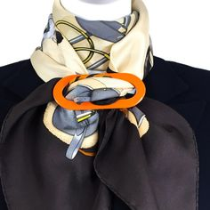 For Sale at Carre de Paris - Large Reversible Horn Scarf Ring for your favorite HERMES scarf cm) and Large Shawls or as a Pendant - You choose. Hermes Scarf Ring, Scarf Rings, Scarf Knots, Diy Scarf, Ways To Wear A Scarf, How To Wear Scarves, Stylish Older Women, Head Scarf Tying, Save The Day