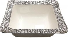 Square Silver Rim Serving Bowl