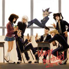 Yu-Gi-Oh Yami Yugi looks like he is sitting on Tristan's head and kicking Bakura in the head