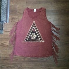 Graphic  top Graphic fringe top. Made in USA. Size small Tops Muscle Tees