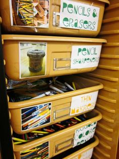 Try color-coding your storage labels. I put green labels on supplies that students may access at anytime, like pencils, erasers, and scrap p...