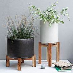 Ceramic Planter With Wood Stand Planters Pots Garden Indoor