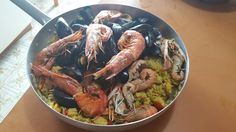 Paella fatta da me Paella, Shrimp, Meat, Chicken, Food, Home, Essen, Meals, Yemek