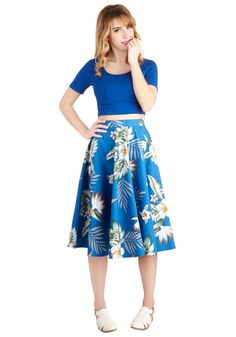 Coastal Break Skirt. Strike out of town with your classic cars top down, and dont quit cruising with the wind curling past the high waistline of this blue A-line until you hit the shore! #blue #modcloth