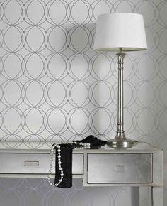 Darcy: White & Silver Wallpaper