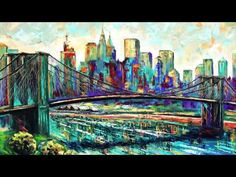 Time-lapse video of painting New York City skyline. Palette knife artwork in oils on canvas. Canvas Wall Art, Impressionism, Scenic Landscape, Texture Water, Fine Art, Canvas Frame, Art, City Skyline, Skyline