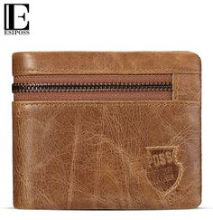 ebb618178b32 GZCZ Genuine Cow Leather Mens Wallets Brand Zipper Design Bifold Short Men  Purse Male Clutch with Card Holder Coins Purses Walet