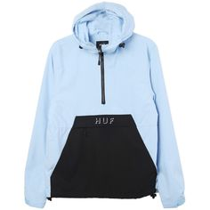 HUF Shadow Anorak ($80) ❤ liked on Polyvore featuring outerwear, jackets, anorak jacket, anorak coat, blue anorak jacket, huf jacket and huf