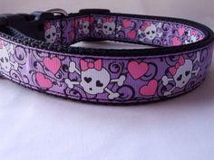 Medium Purple Sugar Skull Dog Collar  by DaisyDoAndDexterToo, $14.00