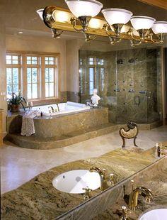 Granite and Marble bathroom by European Marble and Granite Granite Bathroom, Stone Bathroom, Master Bathroom, Dream Bathrooms, Beautiful Bathrooms, Luxurious Bathrooms, Granite Flooring, Granite Countertops, Bathroom Tile Designs