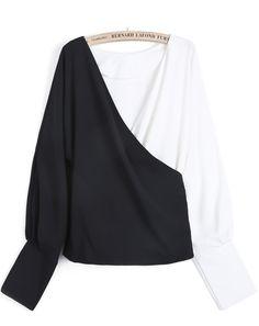 Black Contrast White V Neck Loose Crop Blouse - Sheinside.com