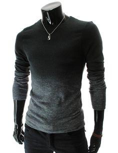 THE LEES SHOP | Slim Fit Round Neck Gradient Color Knit T-Shirt