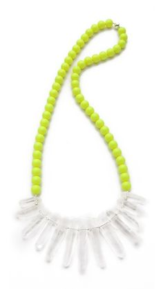 La Vie Bobo Large Neon Quartz Necklace$325  24'' quartz & faux