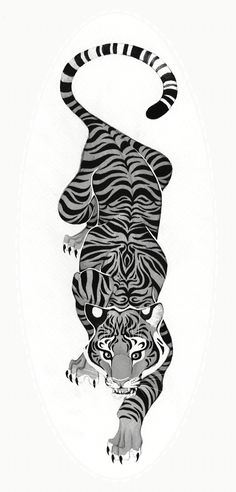 Black and white crawling tiger tattoo