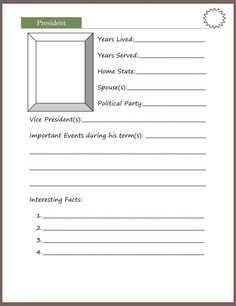 President Notebooking Page