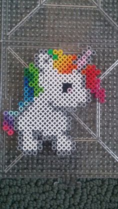 pearler beads (melty beads) unicorn                                                                                                                                                                                 More Perler Bead Designs, Hama Beads Design, Diy Perler Beads, Perler Bead Art, Melty Bead Patterns, Pearler Bead Patterns, Perler Patterns, Beading Patterns, Melty Beads Ideas