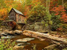 Glade Creek Grist Mill - Babcock State Park, West Virginia via Pixdaus