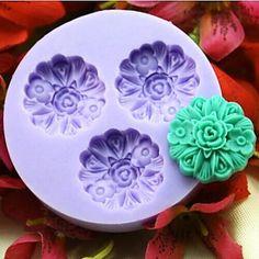 Three Flower Baking Fondant Cake Choclate Candy Mold,L6cm*W6cm*H1.3cm – USD $ 2.99