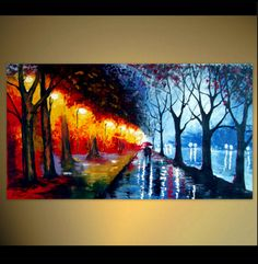 Abstract Acrylic Painting A couple walking in by ArtonlineGallery