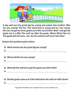 and print Turtle Diary's Fill in the Blanks from Comprehension Jim and his Goats worksheet. Our large collection of ela worksheets are a great study tool for all ages. Free Reading Comprehension Worksheets, 2nd Grade Reading Worksheets, Picture Comprehension, Kindergarten Reading Activities, 2nd Grade Reading Comprehension, English Worksheets For Kids, Reading Passages, Literacy Worksheets, Printable Worksheets